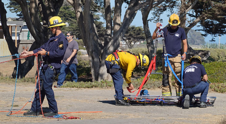 Fire Rescue Training at the Isla Vista Bluffs
