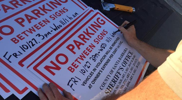 Parking Enforcement Signs Up for Halloween