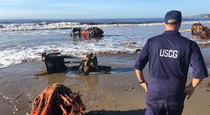 Mudflow Debris Makes its Way to the Ocean title=