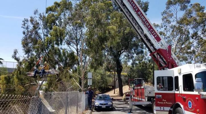 Santa Barbara City Firefighters Practice Flying Stokes title=