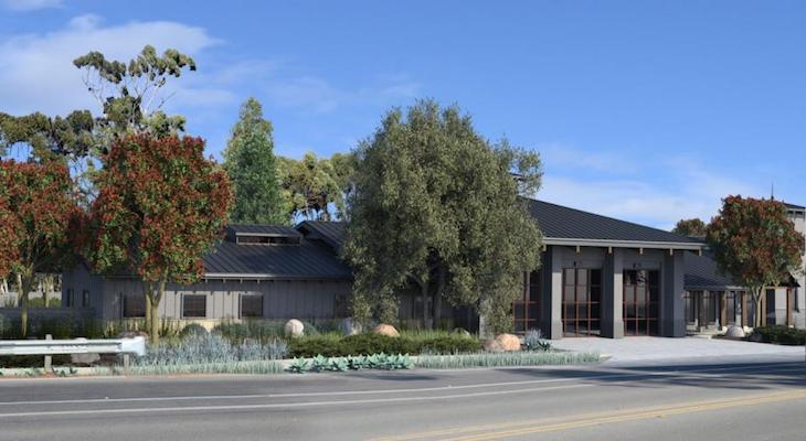 Fire Station 10 visual simulation from Oct. 2018, view from across Hollister Ave looking North