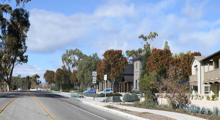 Fire Station 10 visual simulation from Oct. 2018, view from across Hollister Ave looking West toward Cathedral Oaks Overpass