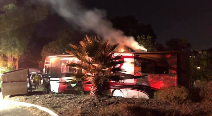RV Fire at Eling's Park title=
