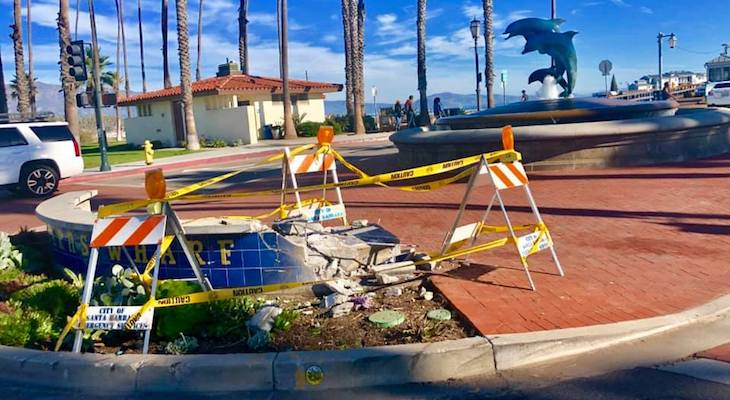 Stearns Wharf Sign Damaged in Collision