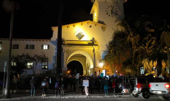 Impeachment Rally at Santa Barbara Courthouse title=