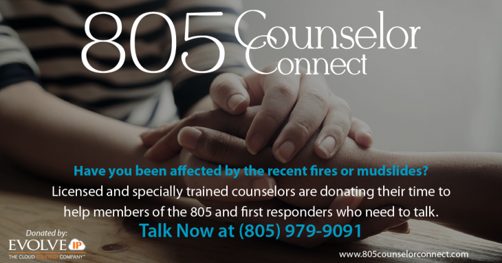 Counseling Hotline and Website for Mudslide / Fire Victims