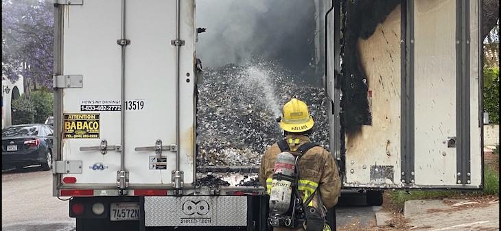 Truck Fire on Castillo Street title=