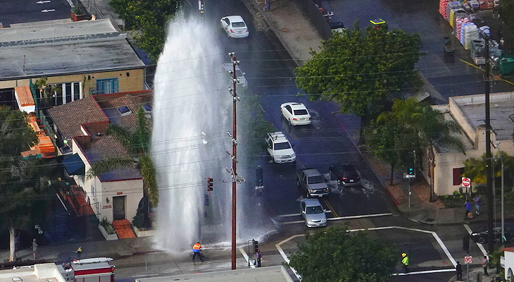 Driver Hits Fire Hydrant and Flees the Scene title=