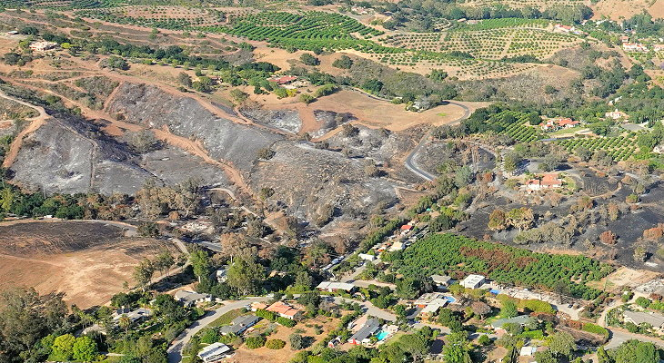 Aerial Views of the Holiday Fire Burn Area title=