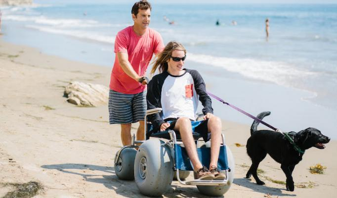 Beach Wheelchairs Available at Four County Beach Parks title=