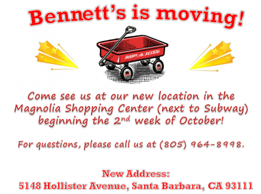 Bennett's Educational is Moving