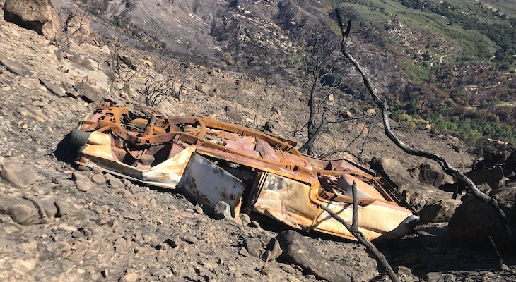 Abandoned Car Found in Cave Fire Burn Scar title=