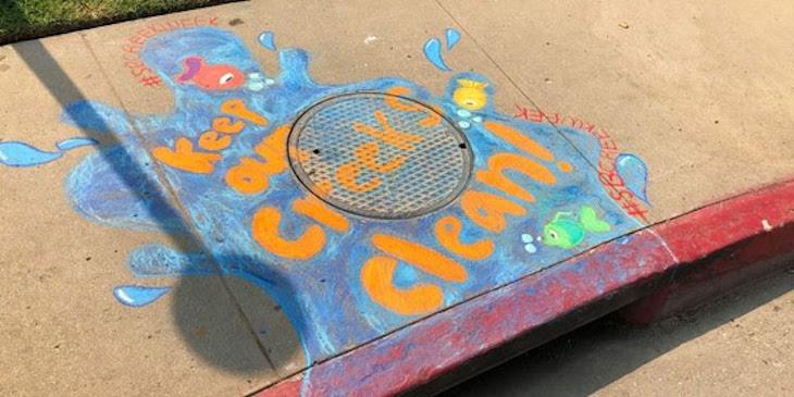 Celebrate Creek Week This Week with Storm Drain Chalk Art title=