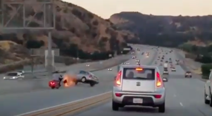 Motorcyclist Triggers Chain-Reaction Crash title=