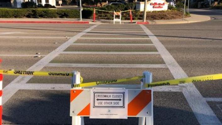 Calle Real Crosswalk Temporarily Closed