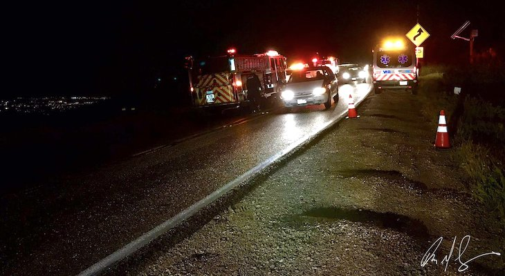 Vehicle Crashes Over Roadway on Highway 154