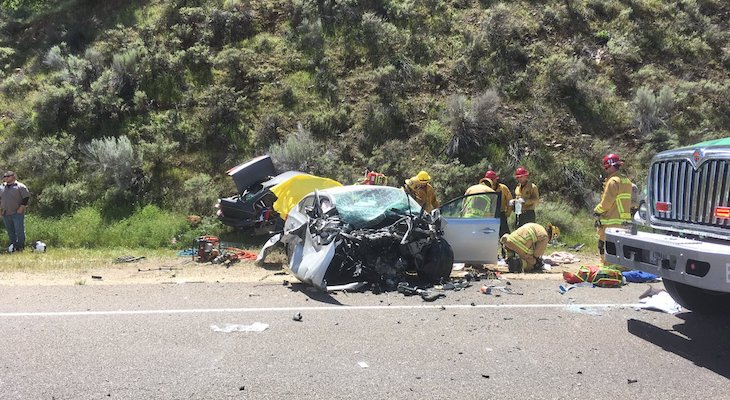 Double Fatal Collision on Highway 166 title=