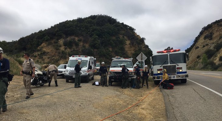 Driver Survives Car Crashing 100 Feet Over Highway 154 title=