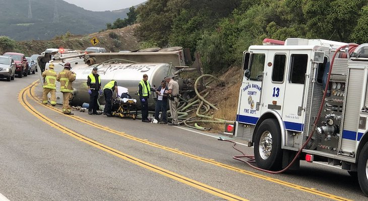 Tanker Truck Rolls Over on Highway 154