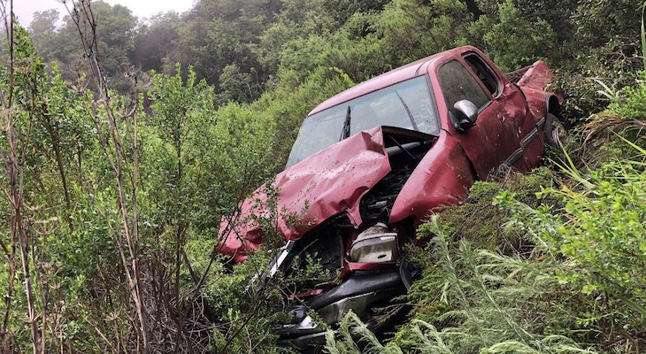 Vehicle Crashed 100 Feet Over Highway 154 Roadway title=