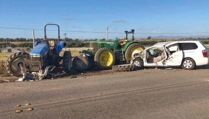 Van Crashes into Two Tractors title=