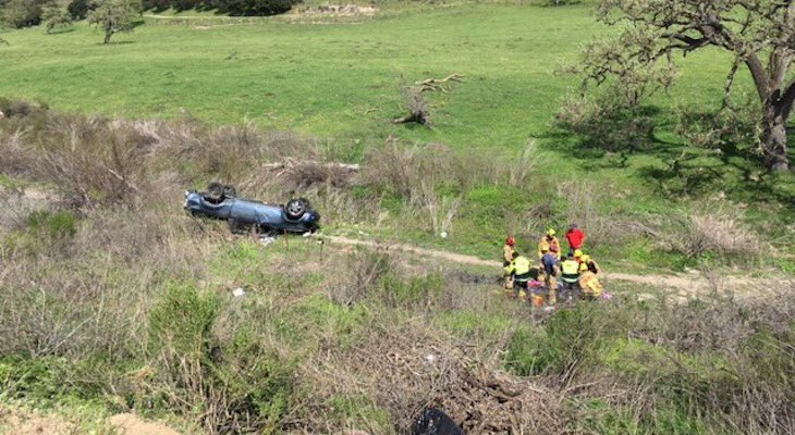 Mother, 2 Children, Injured in Vehicle Rollover title=