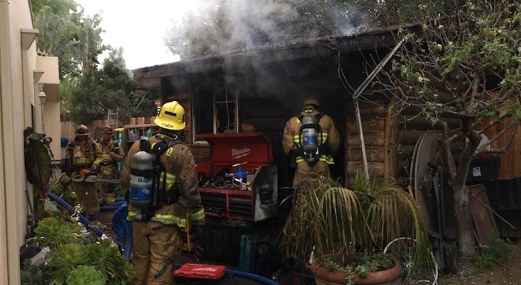 Fire Crews Respond to Shed Fire off Hollister Ave title=