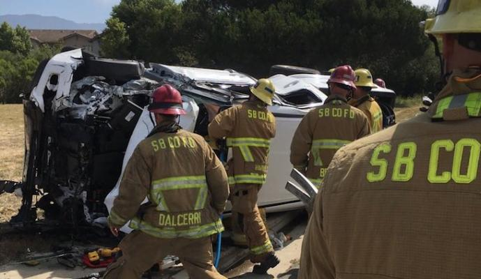 Rollover Accident on Hollister Ave title=
