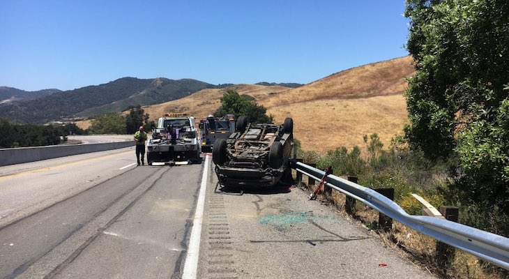 Woman Seriously Injured After Highway 101 Vehicle Rollover title=