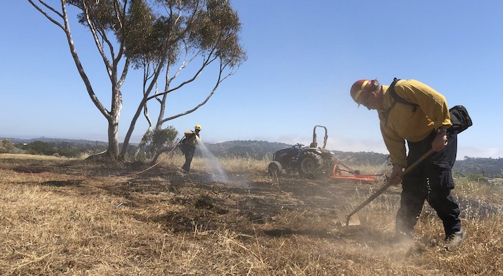 Brush Fire Knocked Down on Via Chaparral