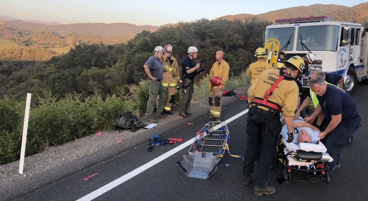 Car Crashes Over SR-154 Injuring One