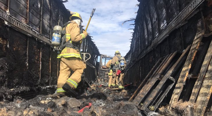Semi-Truck Fire Spreads to Brush
