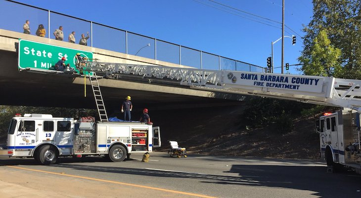 Firefighters Rescue Man Hanging from Overpass Sign
