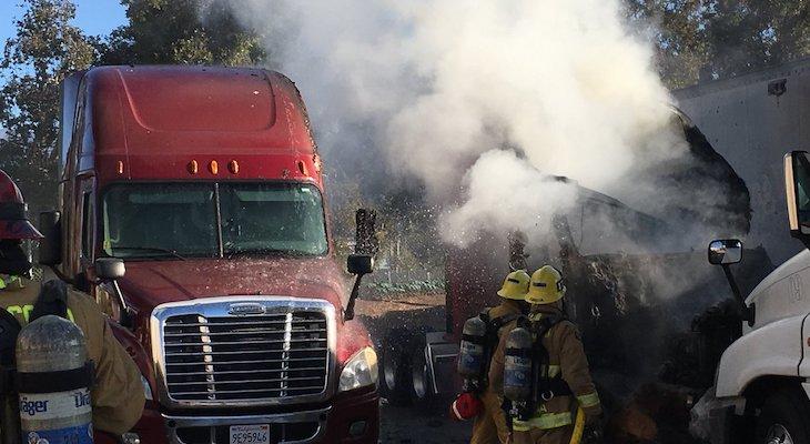 Semi-Truck Fire at Goleta Post Office Plant title=