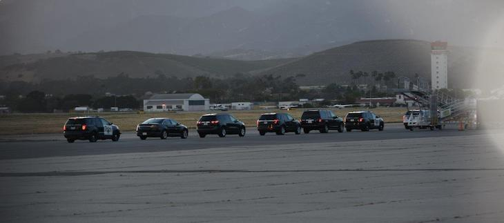 Motorcade at Santa Barbara Airport