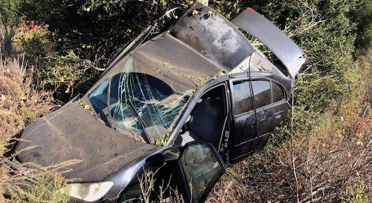 Man Discovered in Crashed Vehicle Over HIghway 1