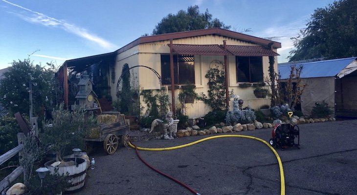 Woman and Dog Safe After Mobile Home Fire title=
