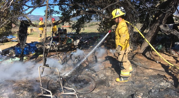 Brush Fire Started by Homeless Camp in Goleta title=