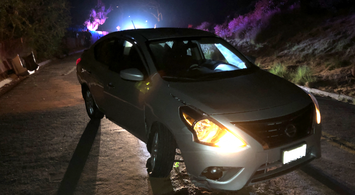 DUI Collision with a Boulder (SBPD photo)