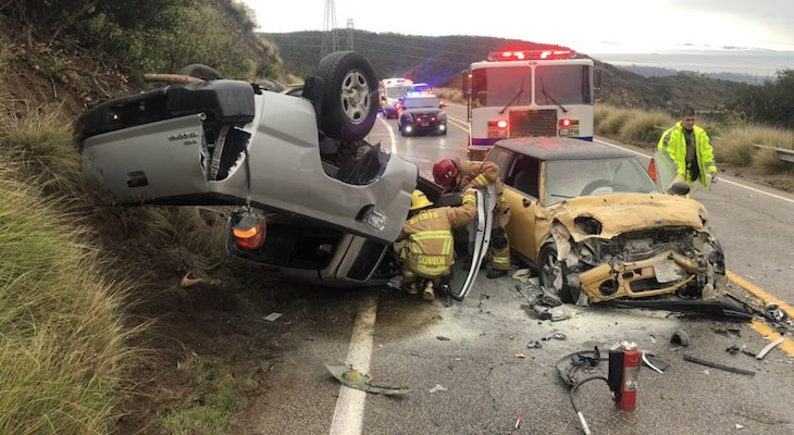 Head-On Vehicle Collision on Highway 154 title=