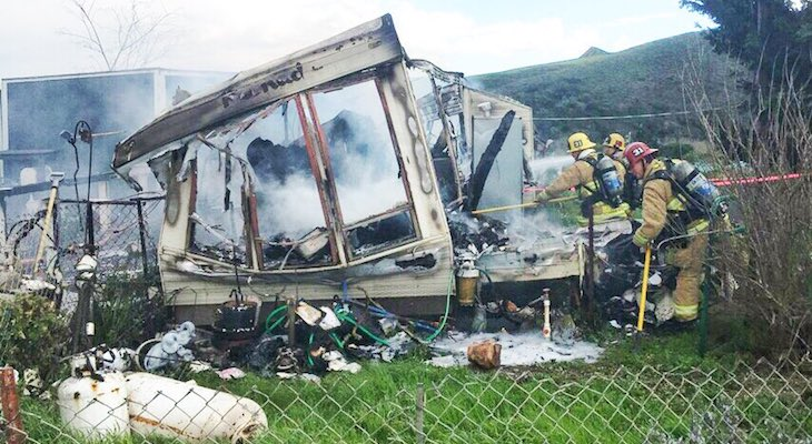 Elderly Woman Injured in Motorhome Fire