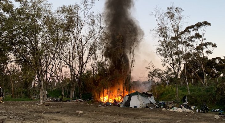 Homeless Camp Fire in Goleta