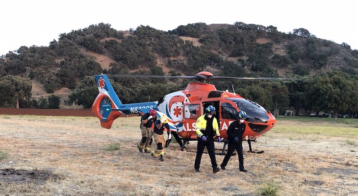 Injured Bicyclist Airlifted to Hospital