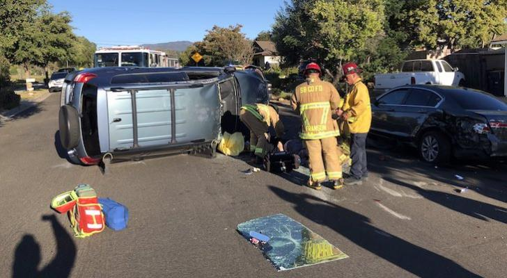 One Injured in Solvang Vehicle Rollover