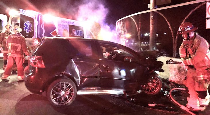 Vehicle Crashes into Fairview Overpass title=