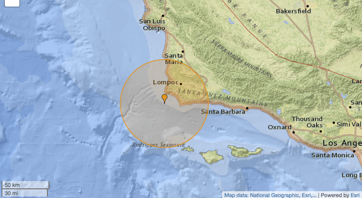 4.6-magnitude natural disaster reported near Lompoc