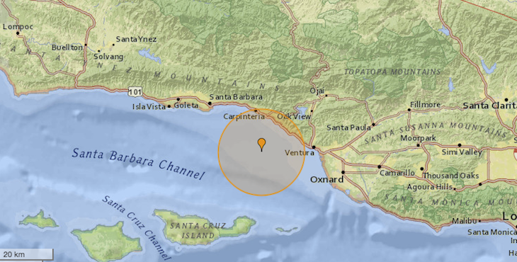 2.1 Magnitude Earthquake off Carpinteria Coast