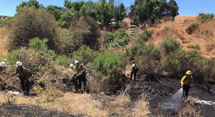 Highway 101 Brush Fire Near Buellton Stopped at Three Acres