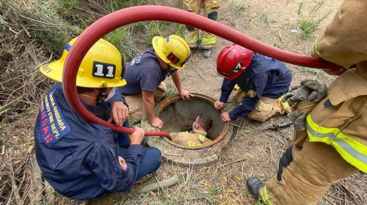 Firefighters Entering Drain Pipe to Rescue Dog (Photo: Mike Eliason / SBCFD)