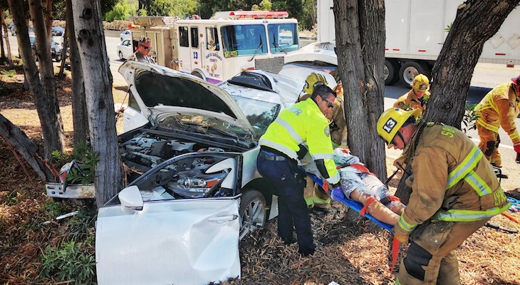 Vehicle Collides with Tree Injuring One